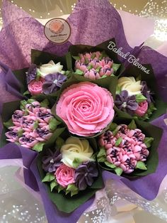 Small pink and purple birthday bouquet www.bakedblooms.com