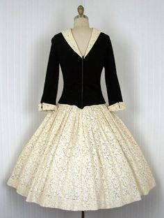 1950s Dress - Vintage 50s Dress Black Jersey Ivory Lace New Look Designer Full Skirt Party Dress Rhinestones - What a Minx. $158.00, via Etsy.