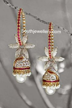 Indian Jewellery Designs - Latest Indian Jewellery Designs 2020 ~ 22 Carat Gold Jewellery one gram gold Diamond Jhumkas, Diamond Jewelry, Gemstone Jewelry, Gold Jewelry, Vintage Jewelry, Jhumkas Earrings, I Love Jewelry, Fine Jewelry, Jewelry Design