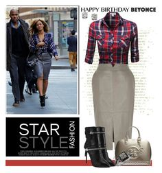 """Beyonce's Plaid Street Style"" by msmith801 ❤ liked on Polyvore featuring River Island, GUESS, Giuseppe Zanotti, Effy Jewelry and happybirthdaybeyonce"