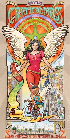 Critical Mass 20th Anniversary Bike Angel Poster by Mona Caron - I love this image and the bike movement!