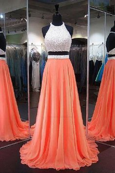 Two Piece Prom Dress,Beaded Prom Dress,Backless Prom Dress,Chiffon Long Prom Dress Orange Homecoming Dresses, Two Piece Homecoming Dress, Prom Dresses Two Piece, Cute Prom Dresses, Prom Dresses 2018, Backless Prom Dresses, Quinceanera Dresses, Dance Dresses, Pretty Dresses