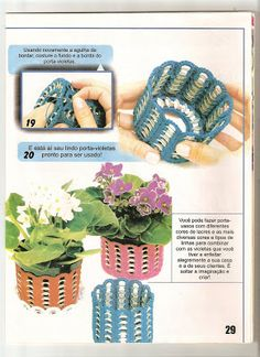 Plant pot cover from pull tabs and crochet