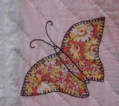 Vintage appliqued Butterfly quilt