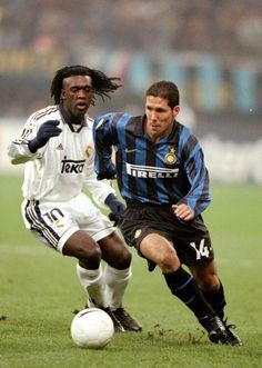 Clarence Seedorf (Real Madrid CF, 1996–2000, 121 apps, 15 goals) and Diego Simeone (Inter Milan, 1997–1999, 57 apps, 11 goals).