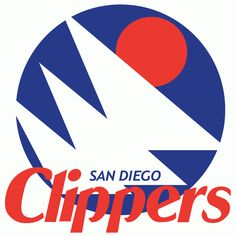 San Diego Clippers Primary Logo (1979) - 3 white sails on a blue circle with an orange sun over script