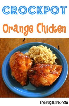 Crockpot Orange Chicken Recipe!  Such an EASY 4 Ingredient Dinner, serve with a side of rice and you're done! | TheFrugalGirls.com