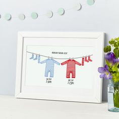 New Baby Twins Personalised Print