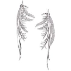Eddie Borgo Pave Crystal Frond Ear Jacket & Drop Earrings Set (524 CAD) ❤ liked on Polyvore featuring jewelry, earrings, apparel & accessories, silver, spike earrings, leaf earrings, diamond earrings, post earrings and pave earrings