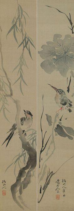 A pair of Bird and Flower painting. Japanese hanging scroll,  Kakejiku.
