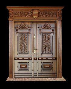 Wooden Front Door Design, Main Entrance Door Design, Wooden Main Door Design, Double Door Design, Door Gate Design, Wood Front Doors, Wooden Doors, Pooja Room Door Design, Wood Exterior Door