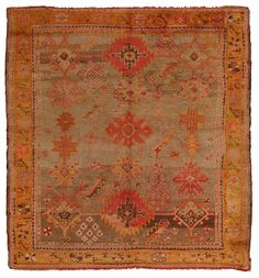 oushak, Number offered by Woven Accents, is part of the antique turkish collection. Kilim Rugs, Oushak Rugs, Get On The Floor, Textiles, Persian Carpet, Modern Rugs, Carpet Runner, Fabric Art, Floor Rugs