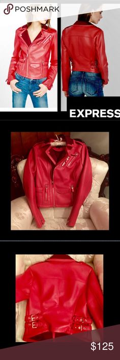 "🆕Express🌹Red Moto Jacket🌹 Look smokin' sexy🌹Jump into a hot ""rebel without a cause""🌹or give em a cause🌹with this sexy moto jacket🌹The point collar 🌹asymmetrical zip front are irresistibly chic🌹Faux leather jacket.🌹Long sleeves with zippers at cuffs. Zip hand pockets🌹Straight hem🌹Polyester lining🌹Polyester/Cotton/Viscose back. Dry clean only🌹16"" long 🌹armpit to armpit 16""🌹xsmall🌹🚫trades Express Jackets & Coats"