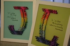 Crayon monograms for end-of-year teacher gifts. Crayon Monogram, Diy Crayons, Teacher Gifts, Bing Images, Joy, Crafty, Education, Monograms, Frame