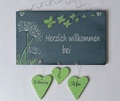 Tür- & Namensschilder - Türschild Pusteblume Schmetterlinge - ein Designerstück von gista bei DaWanda