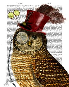 Steampunk Owl Art Print wearing a Top Hat Upcycled by FabFunky, $12.00