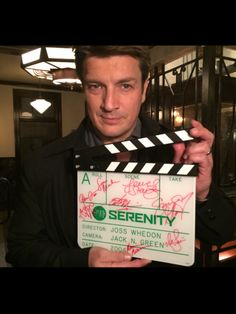 Enjoy this one-of-a-kind camera slate directly from the set of the 2004 feature film, Serenity! This clapboard is signed by the cast of the film,. Firefly Series, Sci Fi Tv Series, Serenity Now, Firefly Serenity, Nathan Fillon, Castle Tv Shows, Castle Abc, American Space, Buffy The Vampire