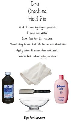 body care Great simple trick if you have dry, cracked, sensitive heels. You'll Need: 4 cups hot water 2 cups Hydrogen Peroxide Towel Foot File Your Favorite Lotion Pair of Socks Add hydrogen Beauty Care, Diy Beauty, Beauty Skin, Beauty Hacks, Dry Cracked Heels, Cracked Skin, Just In Case, Just For You, Lotion