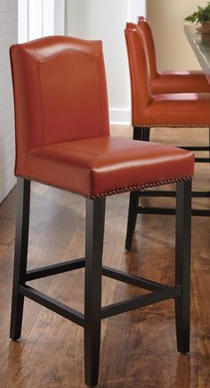 The mitered-leather Carson Stool is one of our finest, bar none.