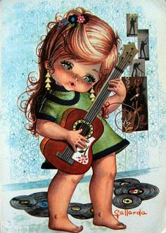 Cute Vintage Big Eyed Girl Postcard by Gallarda.