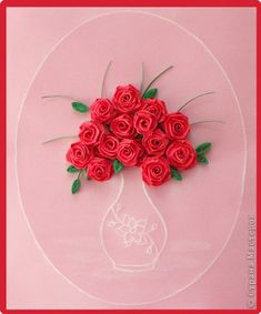 Roses and thread Paper Quilling Cards, Arte Quilling, Quilling Comb, Paper Quilling Tutorial, Paper Quilling Flowers, Paper Roses, Roses Valentines Day, Valentines Day Birthday, Quilled Roses