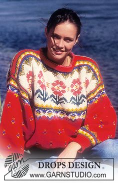 "DROPS 28-2 - DROPS jumper with flower pattern in ""Alaska"". - Free pattern by DROPS Design"