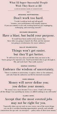 Good advice from Kathy Andreoli by BI What 12 Super-Successful People Wish They Knew at 22 Quotes To Live By, Me Quotes, Motivational Quotes, Inspirational Quotes, The Words, Life Advice, Good Advice, Career Advice, Career Success
