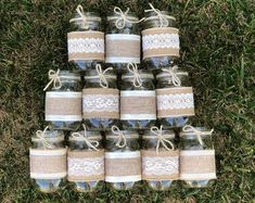 Burlap Mason Jars, Rustic Wedding Decorations, Bridal Shower Decorations, Jars Not Included, Burlap and Lace Mason Jar Sleeves Burlap Mason Jars Rustic Wedding Decorations Bridal Shower Burlap Mason Jars, Distressed Mason Jars, Glitter Mason Jars, Painted Mason Jars, Mason Jar Crafts, Mason Jar Diy, Pot Mason, Burlap Wedding Decorations, Wedding Centerpieces Mason Jars