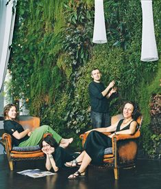 The Dimanches relax in their exotic living room. Photo by Jessica Antola.