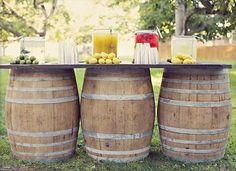 Rustic whiskey barrel countertop buffet table