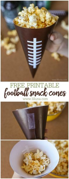 PRINTABLE Football Snack Cones fill these free prints with your favorite snack for the Big Game. Healthy Superbowl Snacks, Game Day Snacks, Game Day Food, Quick Snacks, Party Snacks, Football Tailgate, Football Birthday, Football Food, Tailgating