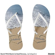 fd168166e Beach With Hearts In Sand Personalized Flip Flops