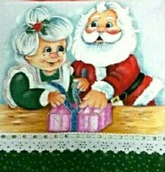 ***Papa and Mama Clause exchanging gifts