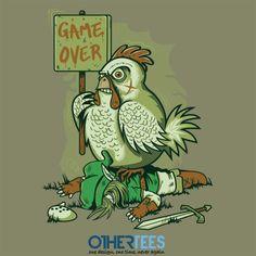 Cuckoo's revenge Game Over Link by FernandoSala Shirt on sale until 09 March on http://othertees.com #zelda