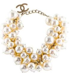 Gold-tone Chanel faux pearl choker with lobster clasp. Multi Strand Pearl Necklace, Pearl Choker Necklace, Chokers, Chanel, Pearls, Gold, Jewelry, Jewlery, Jewerly