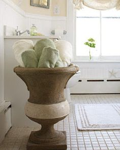 Love the idea of a pretty vessel filled with soft, fresh face towels   @HansgroheUSA and #BathroomDreams