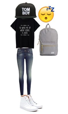"""Untitled #135"" by crazyperson456 ❤ liked on Polyvore featuring H&M, Vans, Petals and Peacocks and Herschel Supply Co."