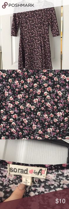 Flowered dress Pink and black flowered dress Dresses Mini