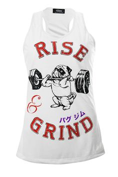 7cc5abda359c3 Rise And Grind Ladies Tank Top Pug Tank Workout by PugsGym on Etsy Gym Tank  Tops
