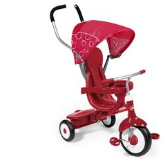 For Fiona:  From 9 months to 5 years old, this 4-in-1 tricycle converts from a stroller to a steering trike, learning to ride trike and finally a classic trike that will bring years of riding enjoyment to your child.
