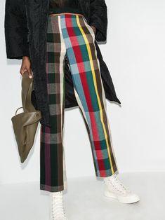 Plaid Fashion, Fashion Line, Fashion Outfits, Women's Fashion, Fendi, Rainbow Outfit, Rainbow Clothes, Checkered Trousers, Fashion Prints