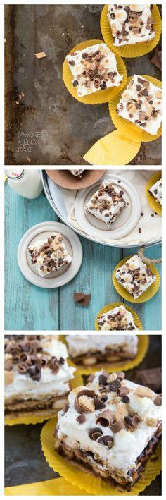 Super Simple S'mores Icebox Cake via chelseasmessyapron Great Desserts, Frozen Desserts, No Bake Desserts, Delicious Desserts, Cold Desserts, Yummy Food, Cupcake Recipes, Cupcake Cakes, Dessert Recipes