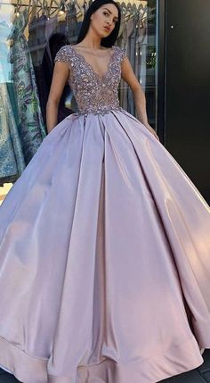 Quincenera dresses - Ball Gown VNeck Floor Length Blush Satin Quinceanera Dress With Lace Beading CR 996 – Quincenera dresses V Neck Prom Dresses, Ball Gowns Prom, Ball Gown Dresses, 15 Dresses, Elegant Dresses, Pretty Dresses, Beautiful Dresses, Evening Dresses, Fashion Dresses