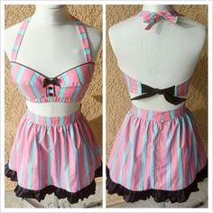 18ebb30ac5c Pin Up Retro 50s Vintage Style Play suit Set Rockabilly dress Bra Top  Atomic Pinstripe Halter