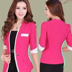 2014 Free Shipping New Arrival Female blazer outerwear three quarter sleeve short design blazer slim Women professional suit-inBlazer & Suit...