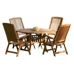 Grand Hyatt 5pc Premium Teak Recliner Dining Set ❤ liked on Polyvore featuring home, outdoors, patio furniture, outdoor patio sets, 5 piece dining table set, 5pc dining table set, 5 piece round dining set, folding table and chairs and teak patio furniture