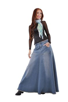 Style J Cozy Casual Long Jean Skirt 4300 19 OFF