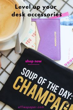 """If champagne could run through your veins you'd be one happy camper, right? We're soooo not mad at you girlfriend! Our motto is """"it's 5 o'clock somewhere!"""" So if your SOUP OF THE DAY is CHAMPAGNE, you're in good company. This versatile pouch is great for storing your electronic gear, makeup obvi and definitely your brunch money! Treat yo' selfie and add yours to cart TODAY at effiespaper.com"""