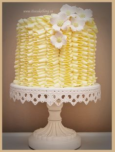 """Ruffled Beauty!  - My first attempt at a wonderful buttercream ruffle technique. Isn't it beautiful? I know I'm a """"fondant only"""" kind of gal, but this ruffled cake as well as the rose swirl are two buttercream techniques I will gladly make for clients. Too beautiful to say """"no"""".   Happy 50th Birthday to Clara! Pretty Cakes, Beautiful Cakes, Amazing Cakes, Funny Birthday Cakes, 50th Birthday, Baptism Cupcakes, Buttercream Techniques, Buttercream Ruffles, Spring Cake"""