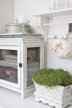 Wood glass display box kitchen shabby chic rustic french country decor idea